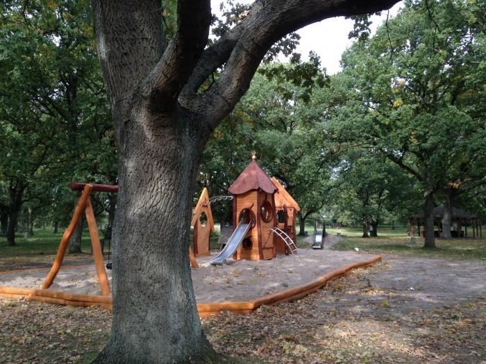 Naturlegeplads i robinietræ i naturområde